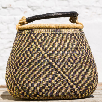 Bolga Pot Basket - natur-navy