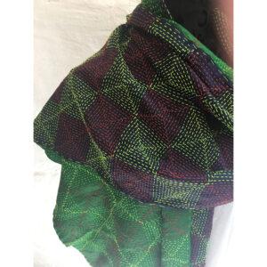 sjal lilla grøn detalje
